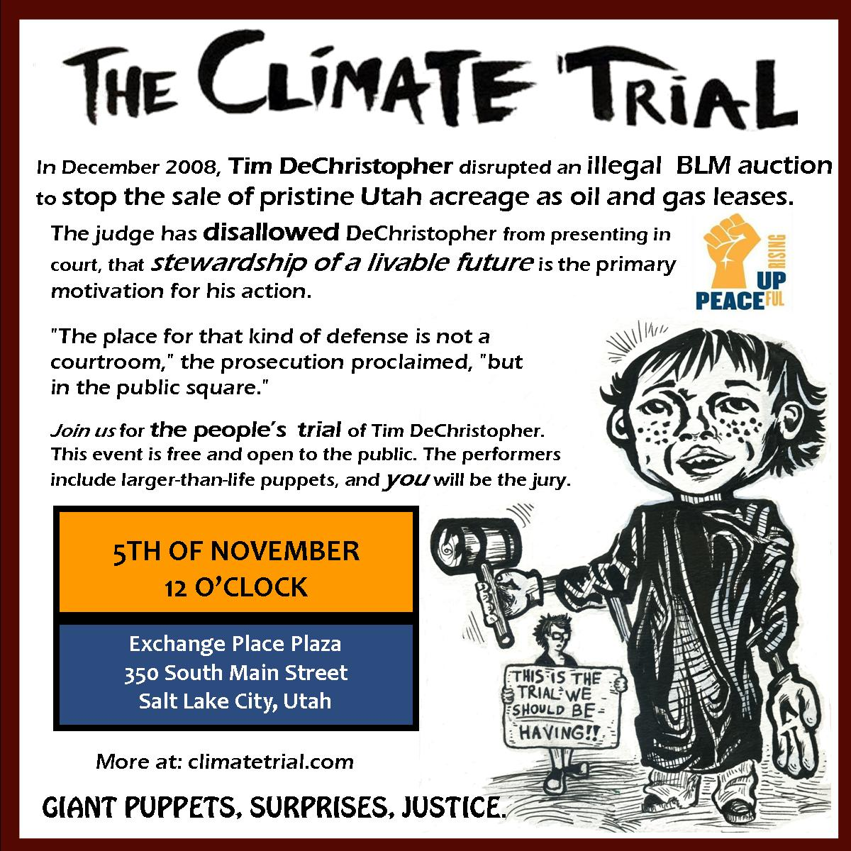 Flyer for The Climate Trial on Nov 5