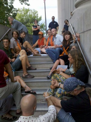Blockading the courthouse entrance following Tim's sentencing